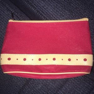 Lancôme red/tan zippered makeup bag/clutch, New