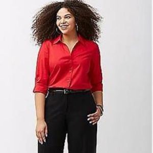LANE BRYANT NWOT Red Button Up Blouse