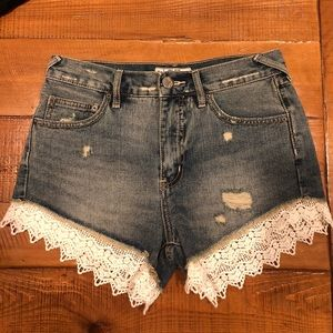 Free People denim lace shorts 25