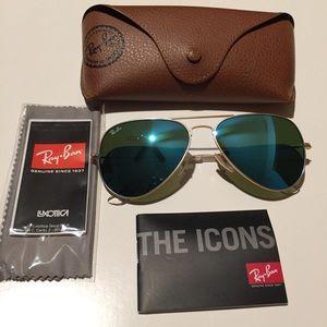 Ray Ban blue aviator 55mm sunglasses