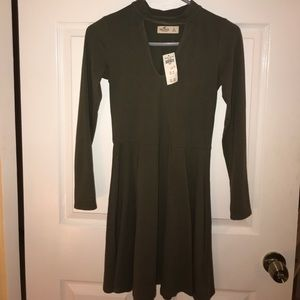 long sleeved army green dress