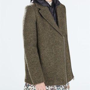 Zara Jacket Texture Wool Blend Moto Biker Coat NEW