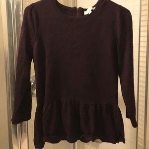 Loft Peplum Sweater in Shimmer Deep Purple