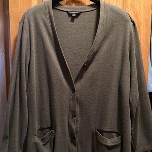 Lands'End 20W/22W Gray Cotton Jersey Knit Cardigan
