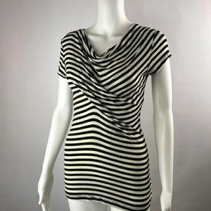 CAbi black & White Striped Top
