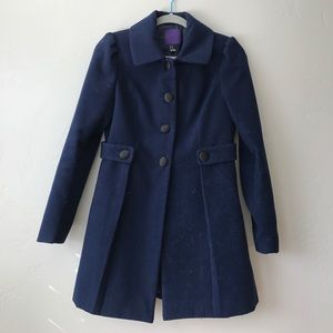 Forever 21  Women's Navy Blue Button Up Dress Coat