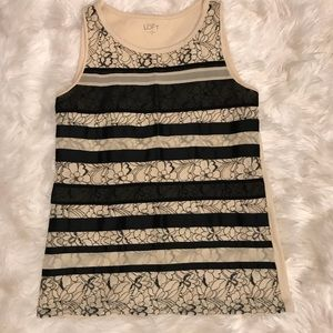 ✨NEW LISTING LOFT Cream/Black Lace Tank