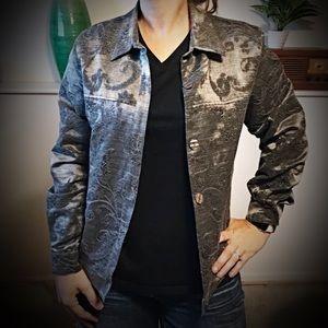 Silver Button Front Blazer Jacket w Design