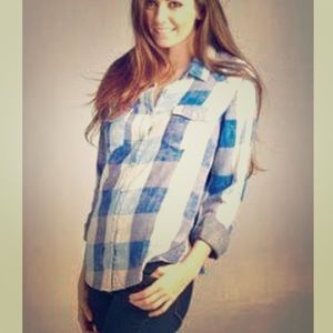 Lovestitch Houston blue plaid snap front shirt