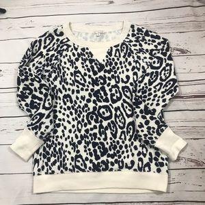 Gap blue white animal print sweatshirt top