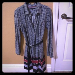 Navy blue and white patterned shirt dress