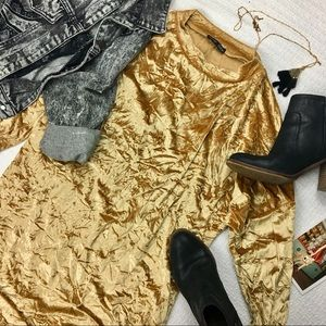 Zara Collection Gold Crushed Velvet Sack Dress