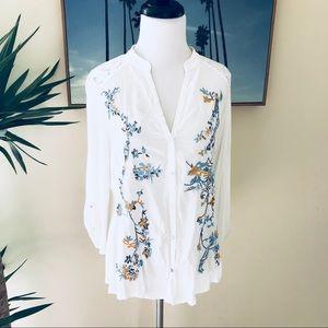 <Anthro> Embroidered Kalei Buttondown Blouse TINY