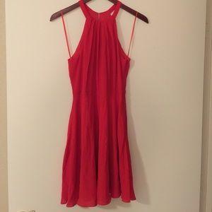 Red halter flowy dress