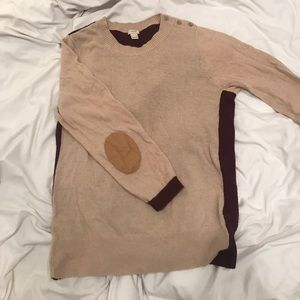 Jcrew tan burgundy sweater with elbow patches