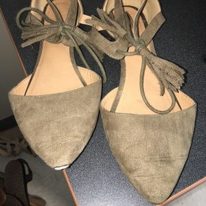 Women's strappy olive green flats