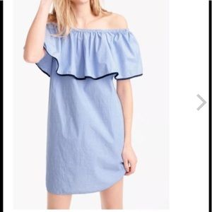 J. Crew Chambray Off the Shoulder Dress