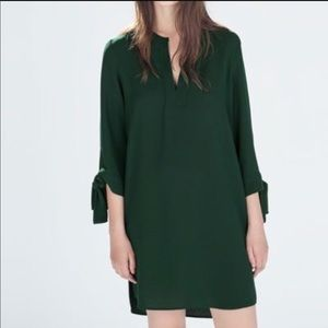 Zara Green Sleeve Tie Tunic Dress