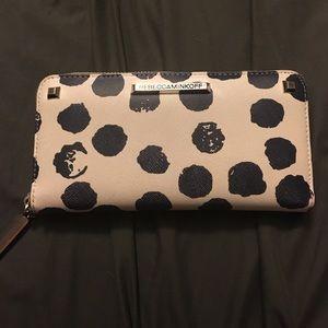 Rebecca minkoff wallet blue and white polka