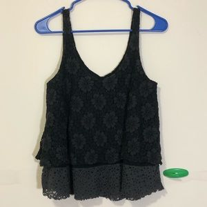 AE: black crochet overlay tank top