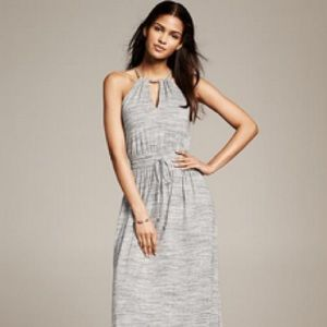 Banana Republic heather grey maxi halter dress