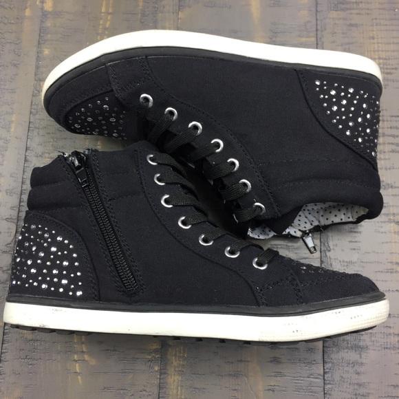 Black Rhinestone Hi Top Zipper Sneaker