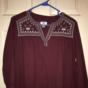 3/4 maroon embroidered shirt