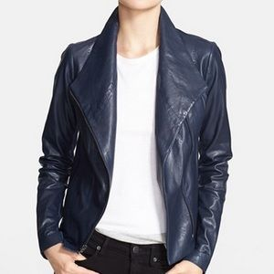 Vince Leather Scuba Jacket - Brand New. Navy/Small