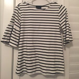 Classic white and black striped top