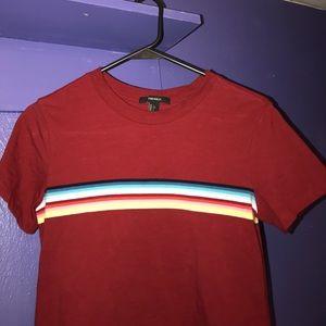 Forever 21 red/rainbow stripe shirt