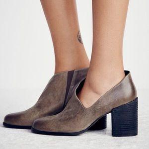 Free People Terrah Heel Leather Boot In Grey