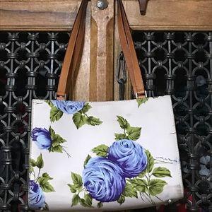 Cream, green, and blue rose purse