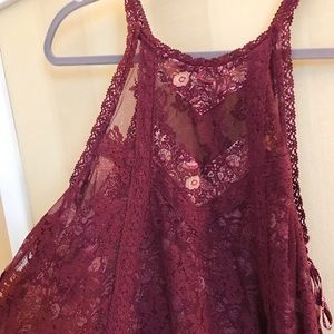 FOREVER 21 Burgundy Lace Tank Top