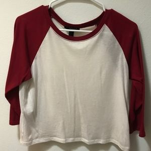 Forever 21 Baseball T Shirt Crop Top