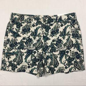 LOFT cream navy aqua floral paisley shorts 10 NWT