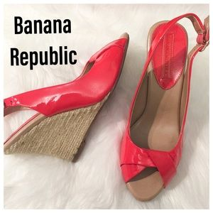 Banana Republic Coral Melon Peek Toe Wedge Heels