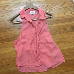 pink sleeveless 2-chest pocket vest