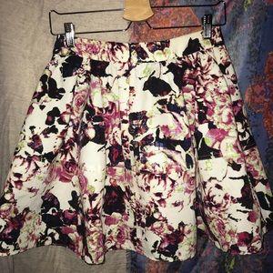 Floral midi pleated skirt