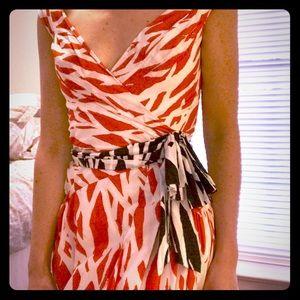 DVF Red Pattern Dress