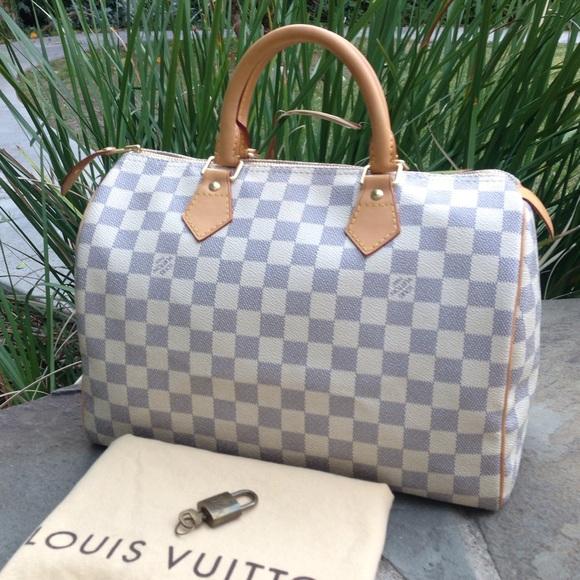 e6f6d3a45b9 Louis Vuitton Azur Speedy 30 W/DUST BAG & PADLOCK!