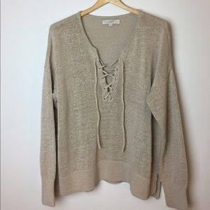 Ann Taylor LOFT Knit Sweater with Tie Front