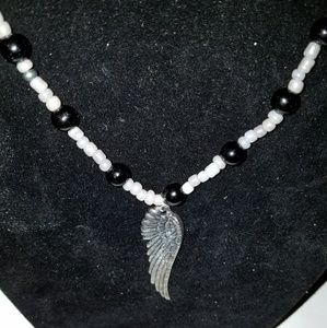 Men Glass beads Elastic Necklace with Wing Charm