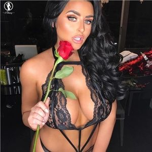 Other - Sexy lingerie hot women black rose lace Teddies ha