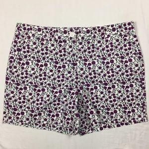 LOFT cream purple floral cotton shorts 10 NWT