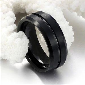 Tungsten men's wedding band black on black