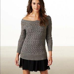 American Eagle Knit Sweater Dress Chiffon Ruffle