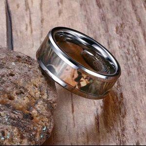 Tungsten men's wedding band camo