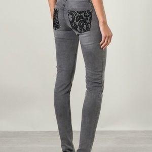 Michael Kors Gray Skinny Jeans Lace Pockets Size 6