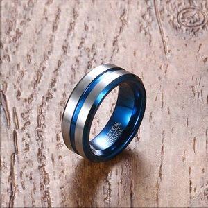 Tungsten men's wedding blue and silver