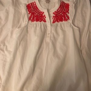 J. Crew Ruffle Cap Sleeve Embroidered Blouse